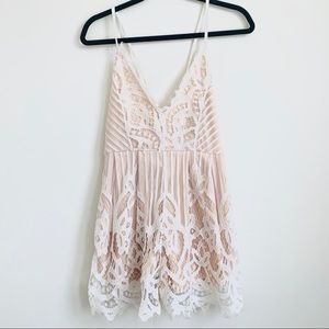 White / Beige Tie Up Lace Romper